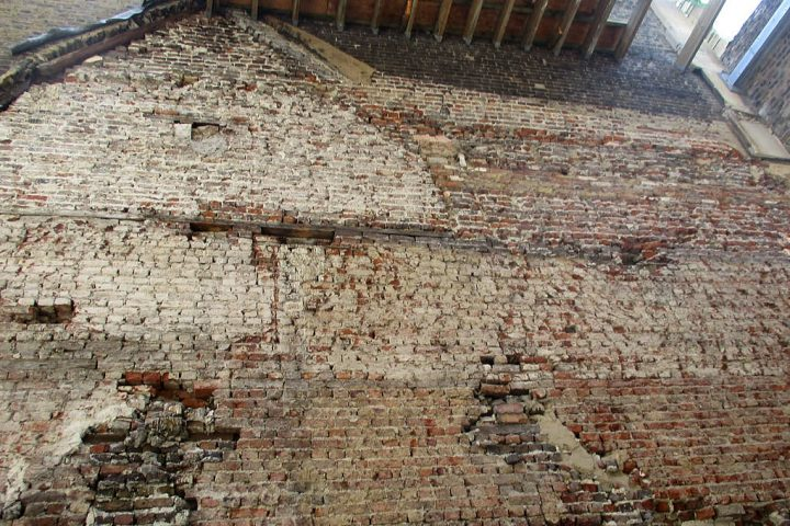 Internal stripped brick wall