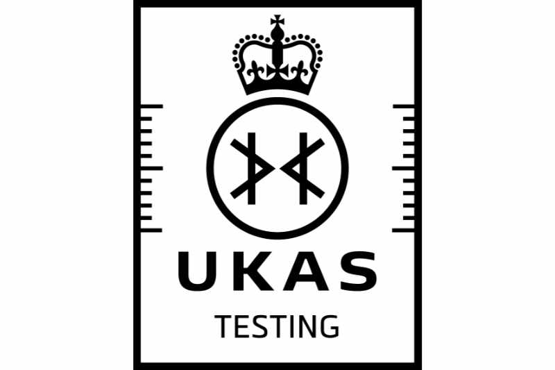 UKAS Accreditation Symbol - black on white - Testing
