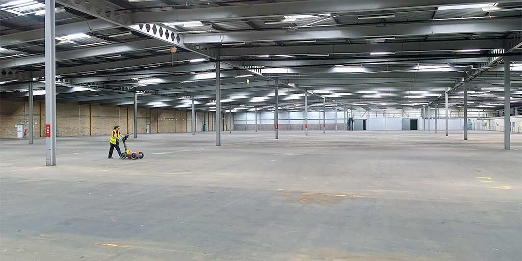 GPR survey of warehouse concrete floor slab