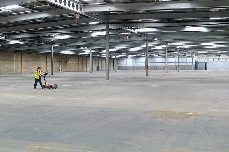 GPR survey of warehouse concrete floor slab