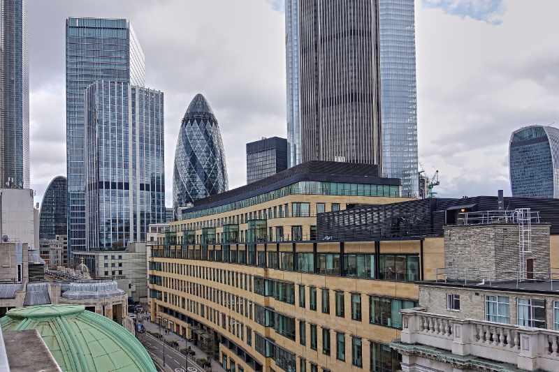 Facades of London buildings