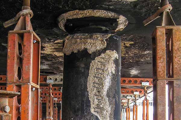 Fire damaged concrete column
