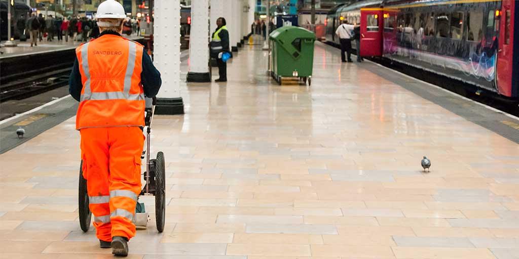 Ground penetrating survey - scanning a station platform