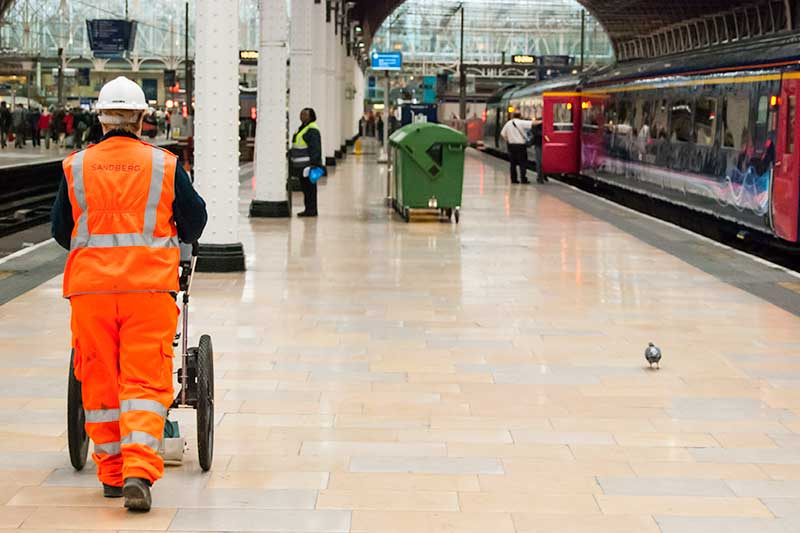 Ground penetrating survey - scanning a station platform