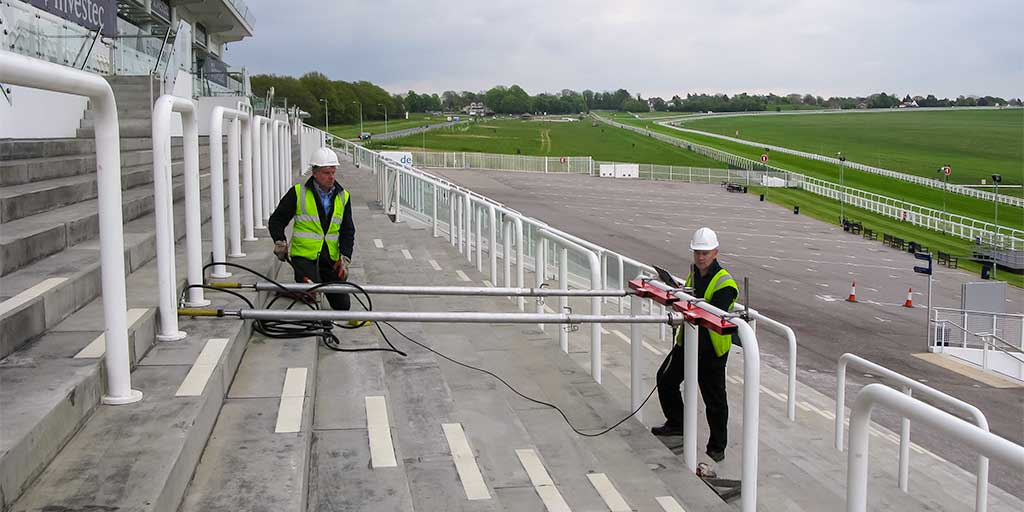 Testing sports ground safety barriers