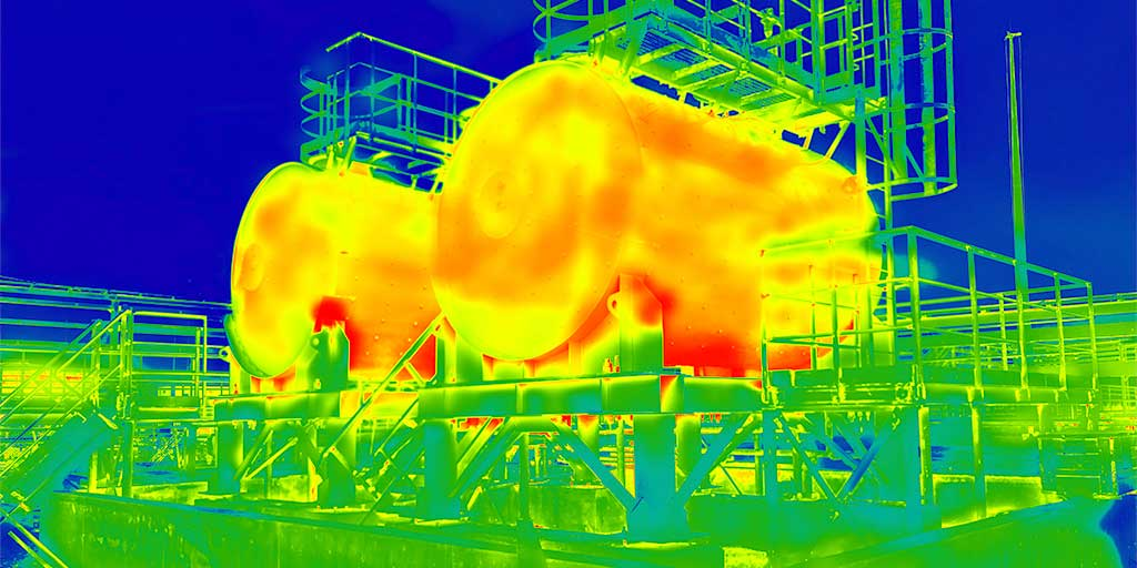 Thermography image of two tanks