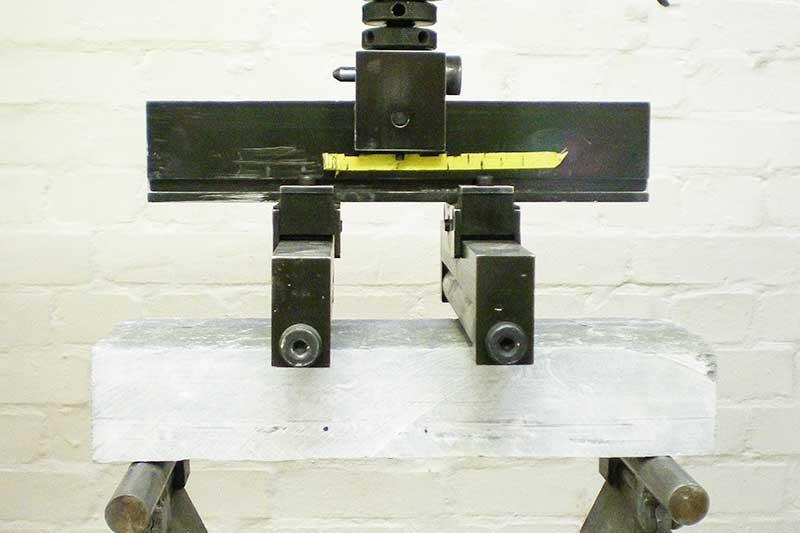 Stone specimen being tested UKAS standard